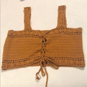Brown crochet top